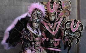 Картинка зонт, перья, маска, пара, костюм, Венеция, карнавал