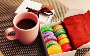 Картинка colorful, печенье, десерт, cup, sweet, coffee, dessert, cookies, macaron, макарун, almond