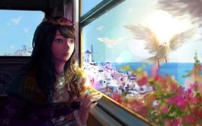 Картинка девушка, цветы, птицы, город, океан, аниме, окно, арт, mikan