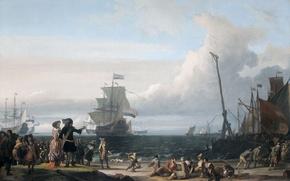 Обои пейзаж, люди, картина, Людольф Бакхёйзен, Голландские Корабли на Рейде у Тексела