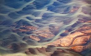 Картинка узоры, текстура, Исландия, потоки, реки, ручьи, ледниковой грязи, вулканической пыли, абстрактный пейзаж