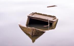 Обои фон, лодка, озеро