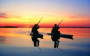 Обои закат, озеро, лодки