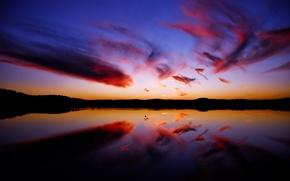 Обои Закат, вода, отражение, облака