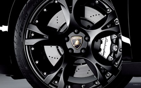 Обои черный, Lamborghini, колесо
