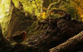 Обои дракон, птичка, лес