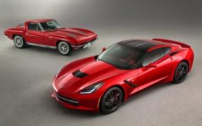 Картинка красный, ретро, Corvette, Chevrolet, суперкар, спорткар, Coupe, корвет, Stingray, 1963, 2014, Z51