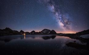 Картинка небо, звезды, облака, пейзаж, ночь, природа, озеро