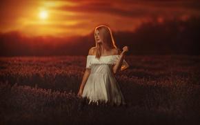 Картинка Girl, Light, Sky, Beautiful, Sun, Sunset, Photo, Woman, Summer, Lavender, Portrait, Fields