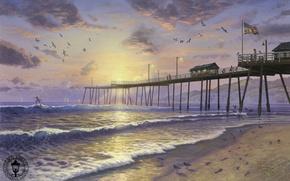 Обои песок, волны, пляж, закат, птицы, следы, океан, чайки, флаг, парус, серфинг, USA, США, живопись, beach, ...