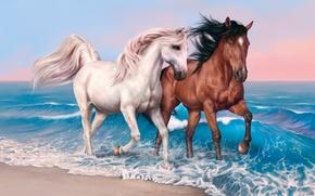 Картинка beach, sky, sea, clouds, sand, valentines, painting, hair, horse, mare, suna, kumo, stallion