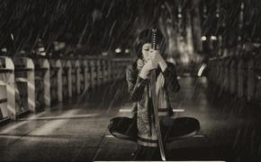 Картинка девушка, фон, дождь, меч, катана, азиатка