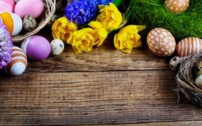 Картинка цветы, праздник, доски, яйца, Пасха, корзинка, Easter, крашенки, гнёзда