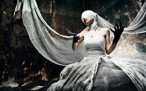 Обои creepy, thread, scissors, bandages, black hands, cloth, woman