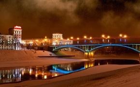 Картинка мост, речка, зимняя ночь