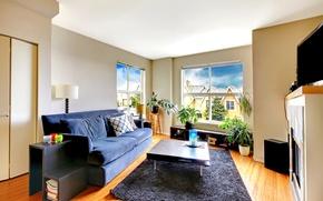 Картинка дизайн, диван, ковер, окно, квартира, Design, гостиная, Living