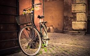Картинка дорога, цветы, велосипед, стена, корзина, брусчатка