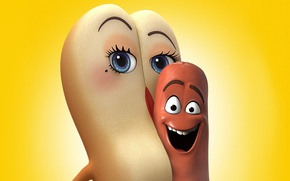 Обои wallpaper, 4k, bread, mouth, cinema, film, official wallpaper, animated film, smile, Sausage Party, eyes, hot ...