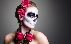 Картинка woman, pose, makeup, day of the dead