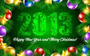 Обои зеленый, разноцветные, Happy New Year, звёзды, фон, Merry Christmas, украшения, еловая ветка, Новый год, шары, ...
