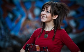 Картинка стена, граффити, скрипка, violin, Линдси Стирлинг, Lindsey Stirling