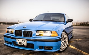 Картинка Дорога, BMW, Синяя, БМВ, Red, blue, oldschool, 3 series, E36, Stance