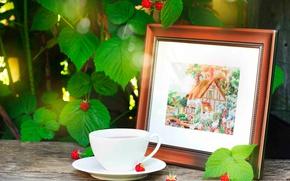 Картинка листья, ветки, ягоды, малина, картина, чашка, доска, вышивка, боке