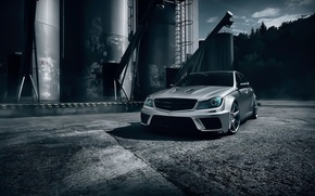 Обои mercedes-benz, c63, amg, black, series, t-modell, silver, color, front