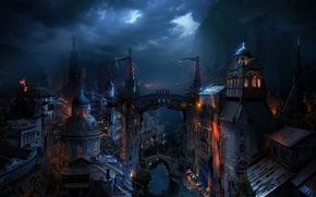 Картинка ночь, мост, город, река, крыши