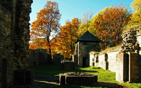 Картинка осень, деревья, природа, Норвегия, руины, trees, nature, autumn, ruins, Norway, fall, Осло, Oslo
