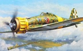 Картинка war, art, painting, aviation, ww2, italian airplane, Macchi MC.200 Saetta