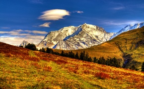 Картинка осень, небо, облака, пейзаж, горы, природа