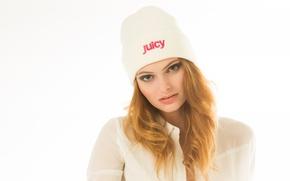 Картинка взгляд, девушка, волосы, шапочка, рыженькая