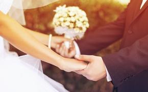 Картинка цветы, свадьба, невеста, широкоэкранные, парень, HD wallpapers, обои, влюбленные, мужчина, девушка, полноэкранные, background, женщина, fullscreen, ...