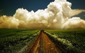Картинка дорога, поле, облако