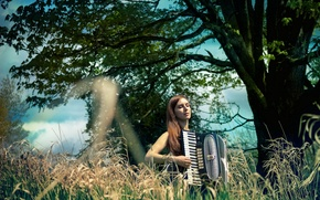 Картинка девушка, музыка, аккордеон