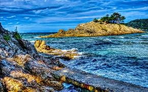 Картинка море, небо, облака, скалы, hdr