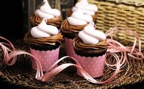 Картинка фон, розовый, widescreen, обои, еда, шоколад, wallpaper, крем, десерт, широкоформатные, background, сладкое, кекс, кексы, полноэкранные, ...