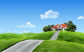 Картинка дорога, облака, пейзаж, природа, дома, фэнтези, house, fantasy, road, landscape, nature, clouds