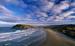 Картинка облака, побережье, Волны