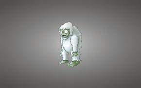 Картинка минимализм, зомби, светлый фон, йети, снежный человек, бигфут, Plants vs. Zombies