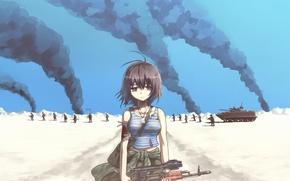 Картинка взгляд, дым, Девушка, армия, солдат, боль, военная форма, Афганистан, АК-74Н, отчаянье