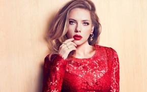 Картинка девушка, красное, макияж, платье, актриса, Scarlett Johansson, блондинка, Скарлетт Йоханссон, голубоглазая
