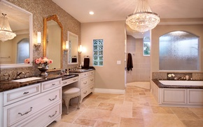 Картинка дизайн, интерьер, зеркало, люстра, ванная