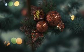 Обои новогоднее, украшение, шары, красные