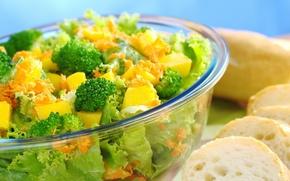 Обои зелень, еда, хлеб, овощи, салат, брокколи, полезное