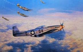 Картинка война, рисунок, мустанг, hot pursuit, налёт, fw-190, nicolas trudgian, b-17, p-51, Авиа арт