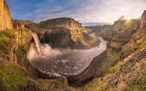 Картинка rock, river, sunset, mountain, waterfall