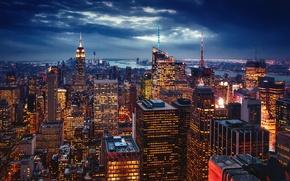 Картинка город, огни, Нью-Йорк, вечер, США, Нью Йорк