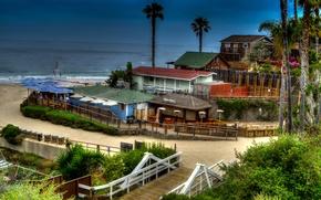 Обои море, пляж, HDR, дома, Калифорния, США, Newport Beach